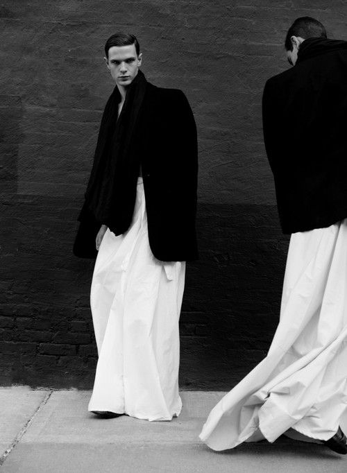 Paul Jung fashion photography. Men in black blazers and white long oriental men dresses