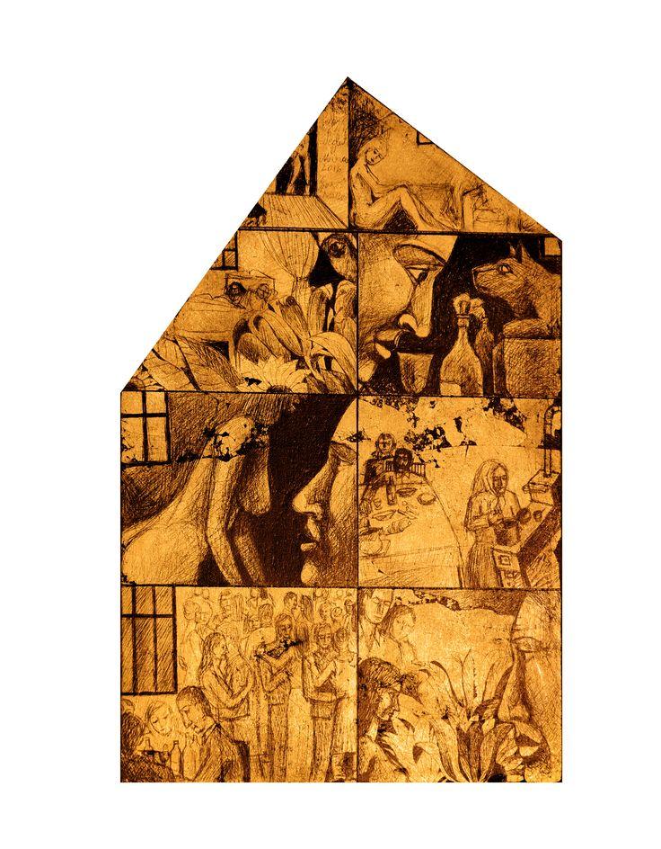 Casa. Schlagmetal gravat/lemn