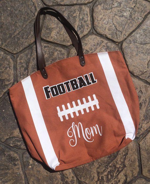 Football MOM Canvas Tote Football Mom Bag Large by DaintyDivaBows