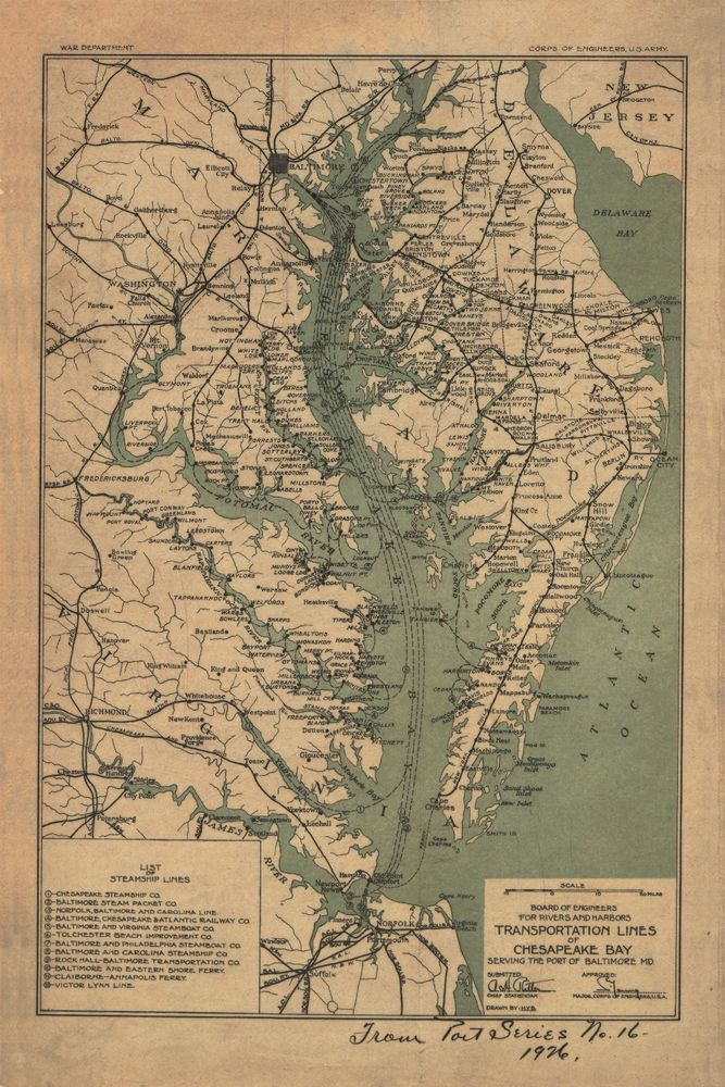 Chesapeake Bay Baltimore MaryLand 1926 MAP 30x20