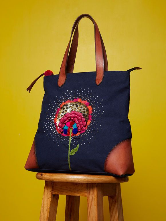 b28522224ba Flower Canvas, Canvas Tote Bags, Embroidered Flowers, Leather Shoulder Bag,  Bag Accessories