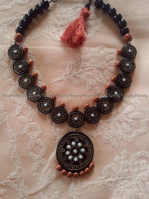 Barro negro y cobre joyería de dos tonos templo conjunto terracota joyería collar conjunto arcilla joyería