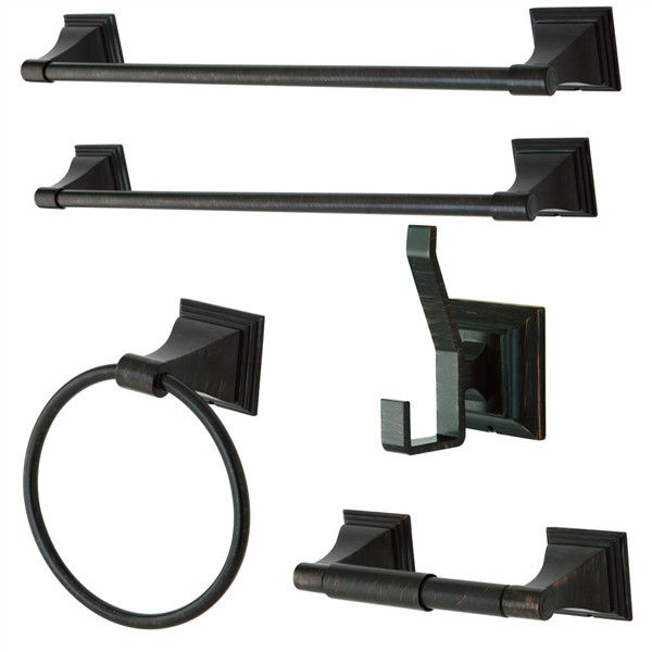 5 Piece Modern Towel Bar Bath Set