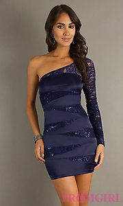 One Long Lace Sleeve. Navy Blue. Blue triangle sequin bands. Tight fitting.
