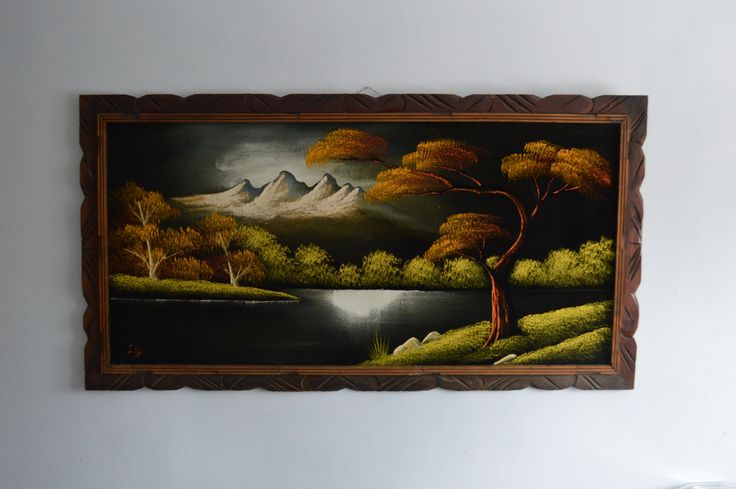 Vintage Large Landscape Original Painting on Black Velvet, Made in Mexico Kitsch Art by Retrorrific on Etsy