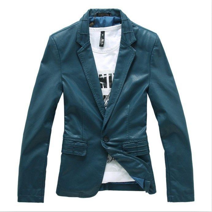Men Leather Blazer, Slim Fit Leather, Brown, Black, Blue