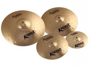 Set de Pratos 4 Unidades Krest Fusion - Ride 20/Crash 16/Hi-Hat 14/Splash 14 + 1 Bag