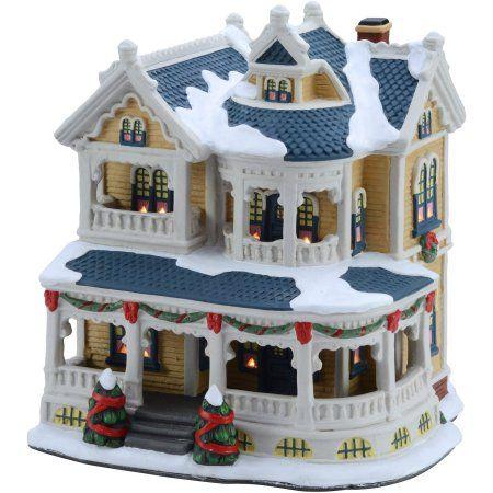 "Holiday Time 7.5"" Victorian House Christmas Village - Walmart.com"