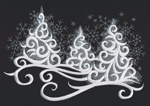 How beautiful is this?   I see this on a navy shirt.  Will be great to have a non-red & green design for Christmas.  Snow Tipped Trees design (UT12608) from UrbanThreads.com