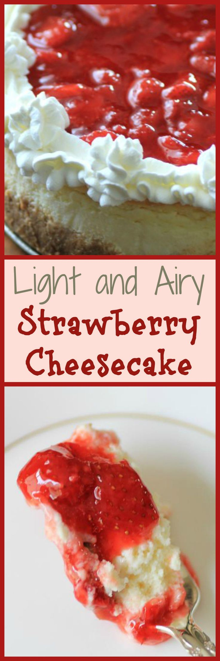 Light and Fluffy Strawberry Cheesecake for Canada Day by Noshing With The Nolands  - A traditional strawberry cheesecake with a vanilla cookie crust. The perfect dessert recipe.