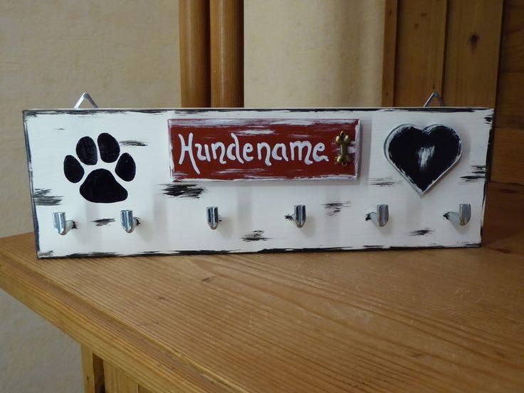 Hund: Leinen - Sonstige - Hunde Leinenhalter, Wunschname, Shabbylook - ein Designerstück von DekoHolzStube bei DaWanda