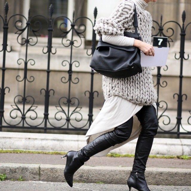 chunky knit & all kinds of cool. #AdaKokosar in Paris.