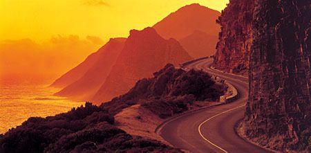 Chapmans peak sunset. Magnificent drive along Chapamans peak in Cape Town