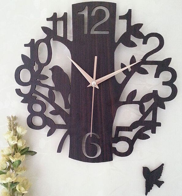 Vintage Wooden Wall Clock Hallow Out Birds 3D Silent Art Watch Wall Relogio de Parede Personalized Home Decoration