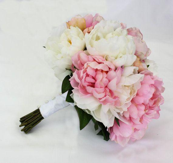 Silk Peony Bridal Bouquet - Pink & White Wedding Bouquet for Bride, Keepsake  Peony Wedding Bouquet