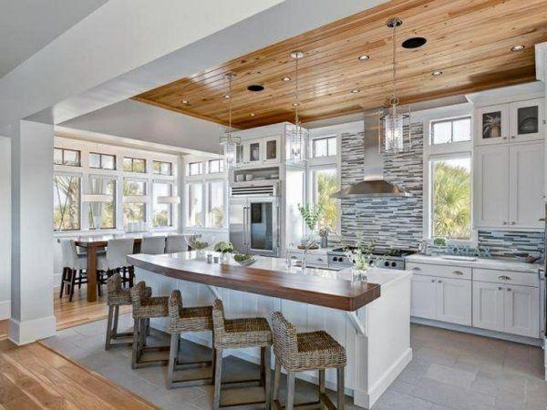 Moderne Küchen rattan stühle Kochinsel küchenblock freistehend holz decke