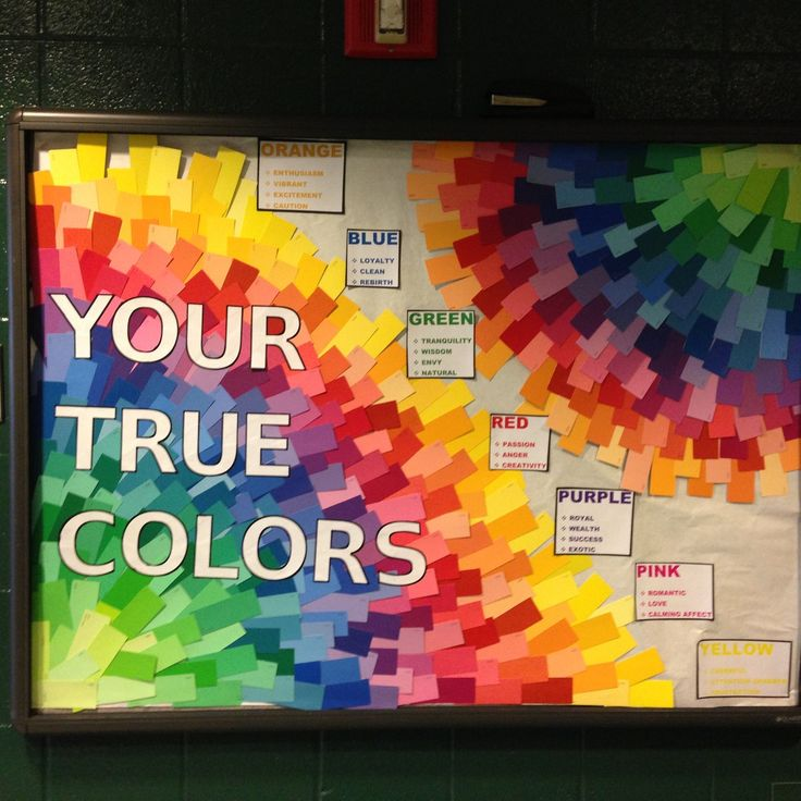 Love the background. Could do one for personality quiz...? ResLife Crafts: Photo True colors bulletin board