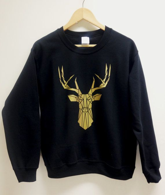 New to the collection, Gold and black stag print sweater. Wear to be noticed! The stag is applied by hand using shiny gold vinyl, make great