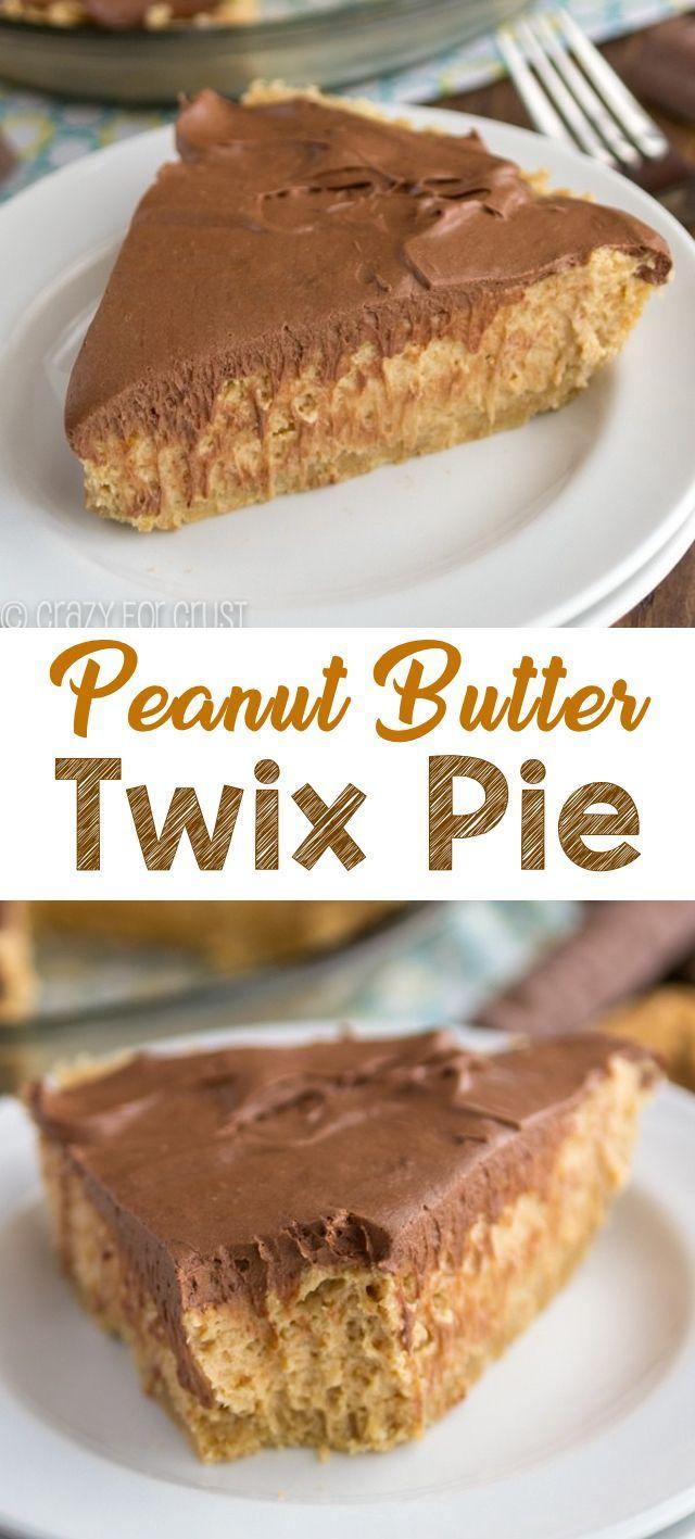 Peanut Butter Twix Pie is an easy no bake pie reci…