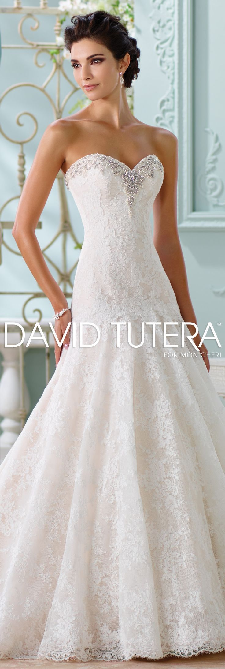 The David Tutera for Mon Cheri Spring 2016 Wedding Gown Collection - Style No. 116205 Chasca #laceweddingdresses  @moncheribridals