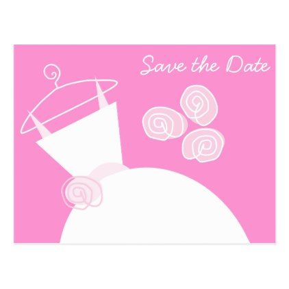 #savethedate #postcards - #Wedding Gown Pink Save the Date horizontal Postcard