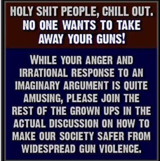Amen to this!  Stop letting the NRA and the GOP manipulate you!!!!!!!