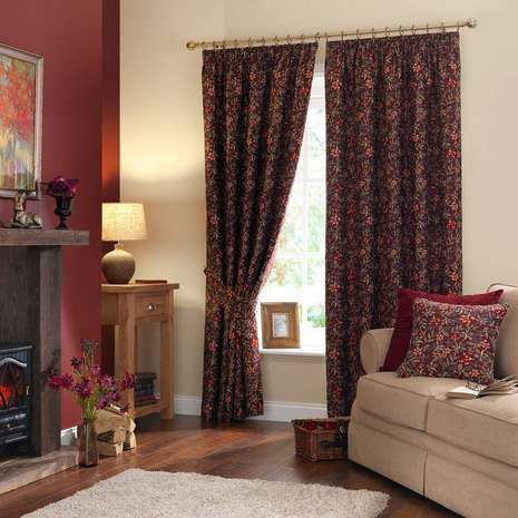 Berry Red Pencil Pleat Curtains | Dunelm
