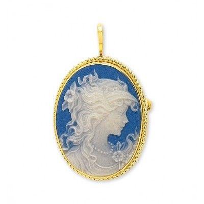 Camée bijoux, pendentif - broche 3.05 grammes en or 750, 29 mm x 22 mm. Camée porcelaine. http://www.princessediamants.com/article-pendentif-broche-camee-porcelaine-or-jaune-2549.htm