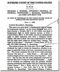 Image of a draft version of Harry Blackmun's dissent in Bowers v. Hardwick.