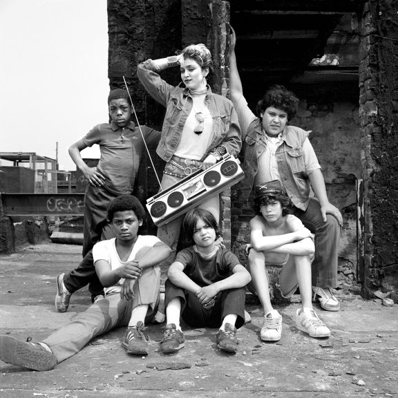 Madonna Louise Ciccone With a Boombox and Some Lower East Side Kids