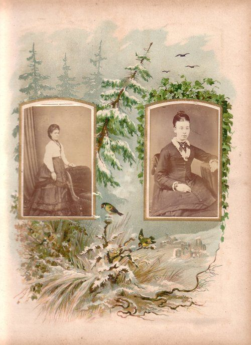 Winter page from a Victorian photograph album. The carte de visite size photographs show a standing lady and a seated lady dressed in the fa...