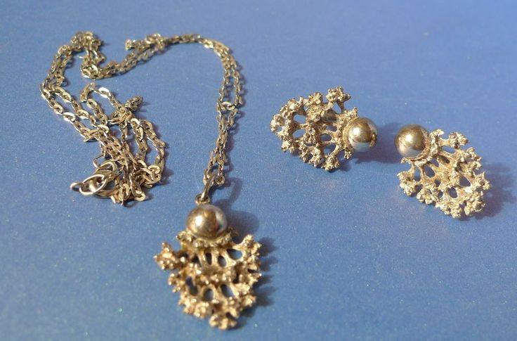 Vintage USSR Soviet jewelry SET Sterling Silver 925 Necklace Pendant + Earrings