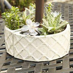 Stone Umbrella Planter, Cream
