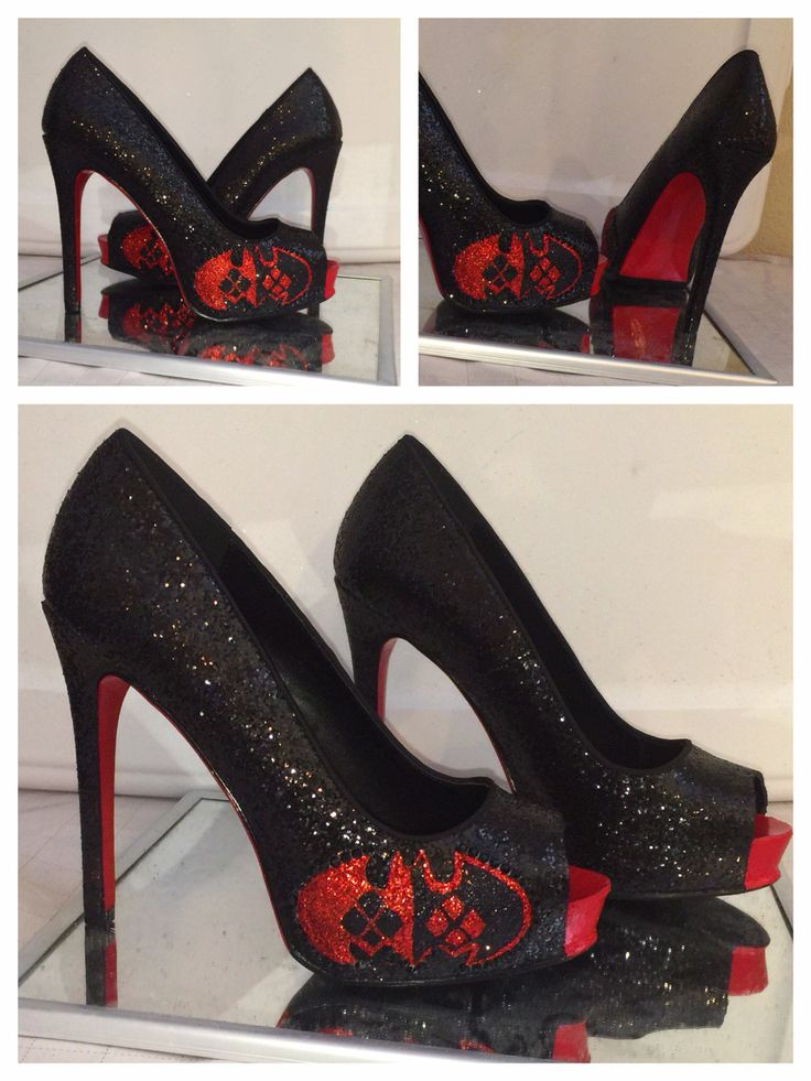 BATMAN harley quinn red black sparkly girly diamond shapes high heel peep toe or closed toe pumps stiletto shoes HandMade  wedding bride by CrystalCleatss on Etsy