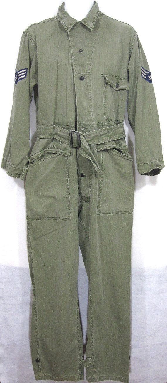 Vintage Us Army Post Wwii Hbt Coveralls Sz M 1940 S