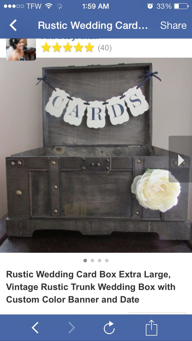 wood wedding card holders%0A Rustic Wedding Card Box Extra Large  Vintage Rustic Trunk Wedding Box with  Custom Color Banner and Date