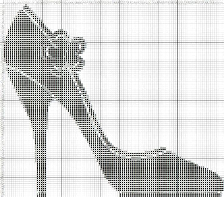 0 point de croix chaussure noire - cross stitch black shoe