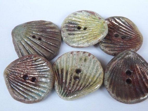 6 Ceramic Buttons 30mm / 12  clam button raku by BlueBirdyDesign, €16.00