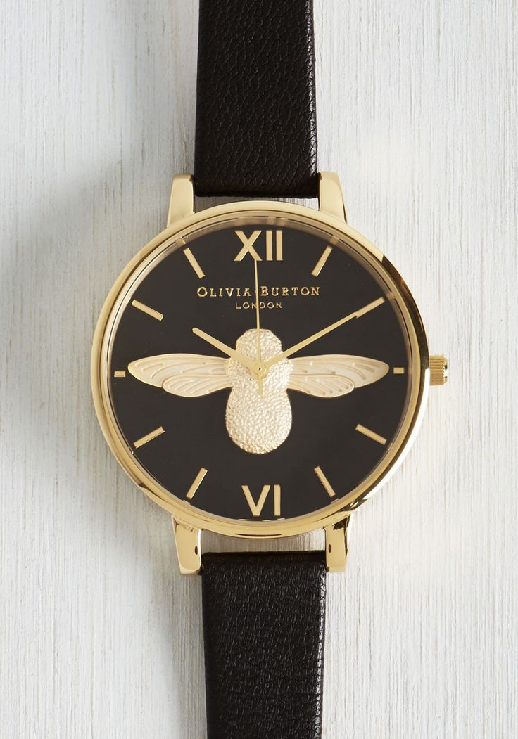 Bee There in a Minute Watch in Gold. Your commitment to quickness is easily and elegantly upheld with this Moulded Bee watch by Olivia Burton! #black #modcloth