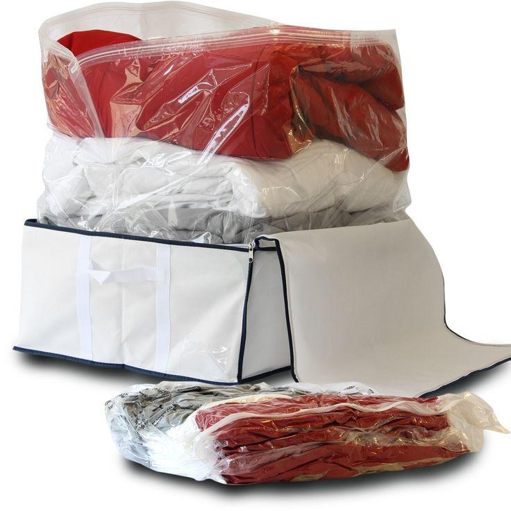 Storage Finest 3-piece Medium Flat Vacuum Storage Bags Set with Soft Storage Box Tote