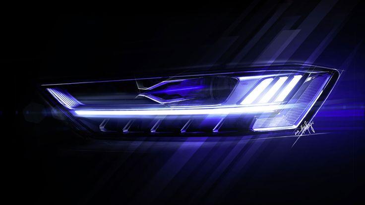 Audi A8 Headlight Design Sketch Render   light   Дизайн, Проекты ...