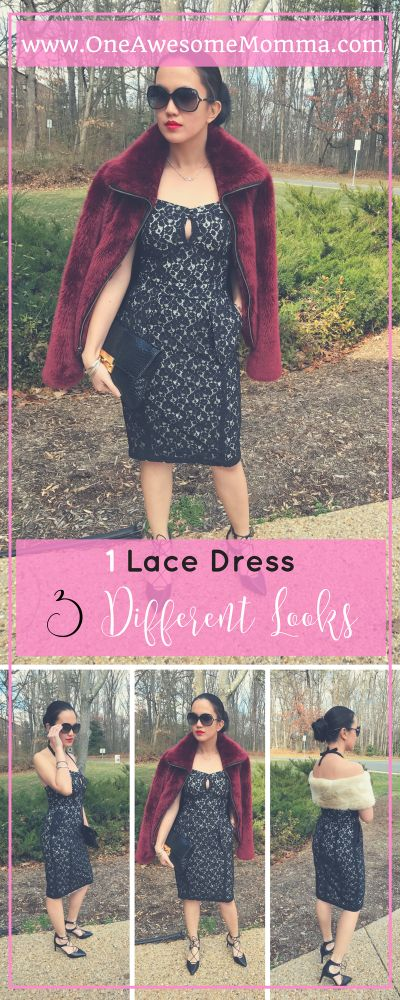 Looking for a Valentines Day Outfit or date night outfit inspiration? This black lace dress worn 3 different ways is perfect for that. This dress can be worn as is, with faux fur coat, or with faux fur scarf. This is a great style inspiration for different seasons - spring, summer, fall, winter fashion. Click on the image to learn more.