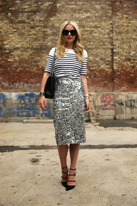 What I did was gold Ann Taylor sequin skirt + black and white BR striped turtle neck