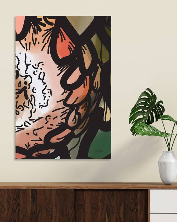 """Protea flower wall art Abstract painting Printable art USE THE CODE """"HUNKYDORY"""" TO RECEIVE 30% OFF!"""