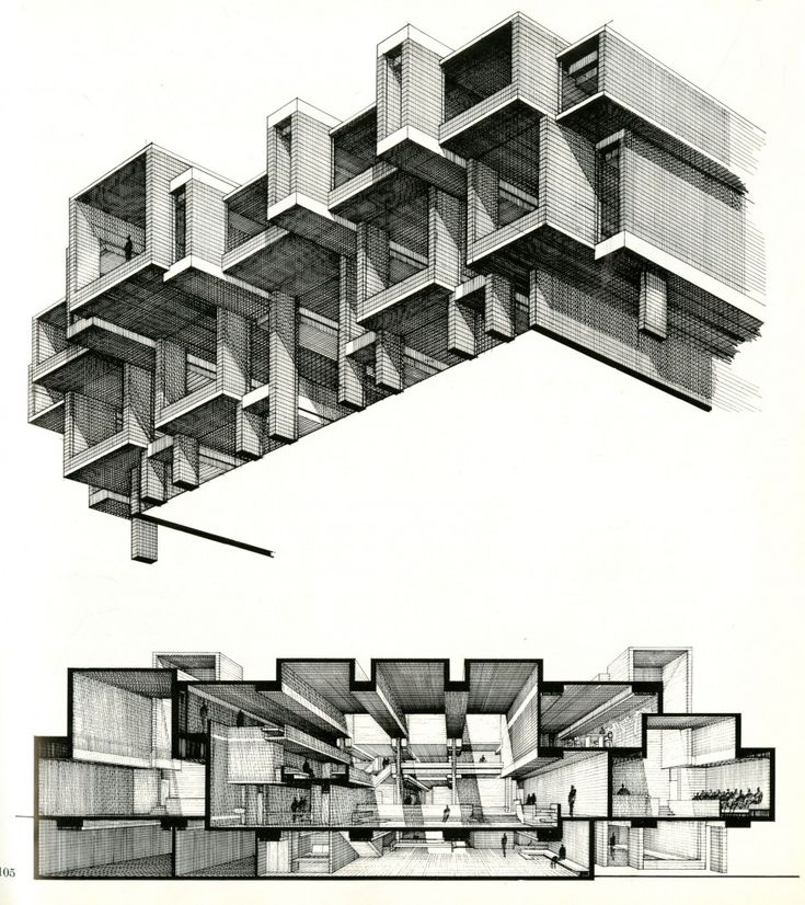 Paul Rudolph axonometric and sectional perspective.  Tiled texturing lends itself to wonderful crosshatched shading.