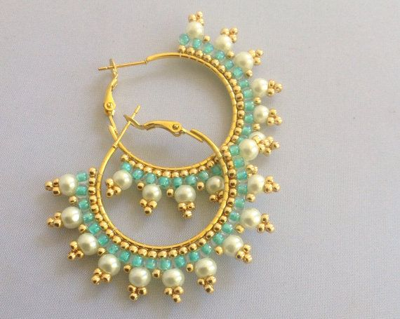 Pearl and turquoise hoop earrings by Beadgardener on Etsy