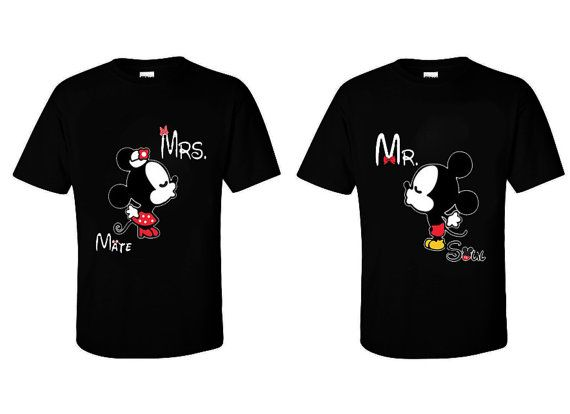 "Couple Matching Black T Shirts  ""Mrs Mate & Mr Soul""  Mickey and Minnie  S-XXL - Cute Gift - Movies - TV - Love Sexy on Etsy, $19.99"
