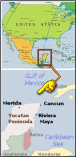 Locator map showing the location of the Yucatan and Riviera Maya