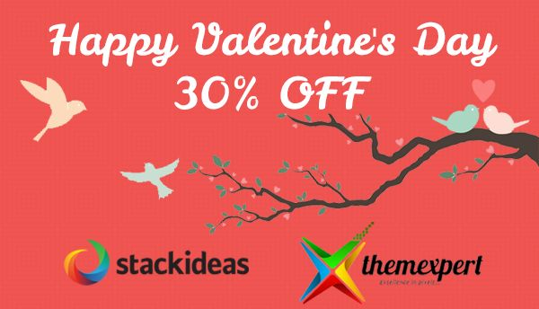 Happy #ValentinesDay ! 30% #discount for all single purchase. #Joomla #Wordpress  http://buff.ly/1LmJzDi