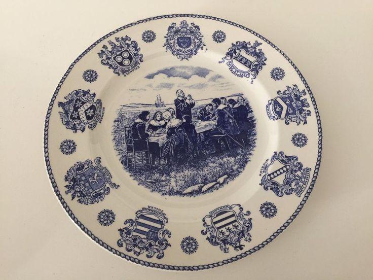 "Vintage Old English Staffordshire ""The Pilgrim Fathers"" England Plate, 10"" Dia"